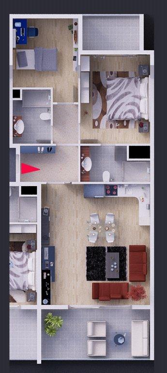 План квартир 2+1 в центральной части здания