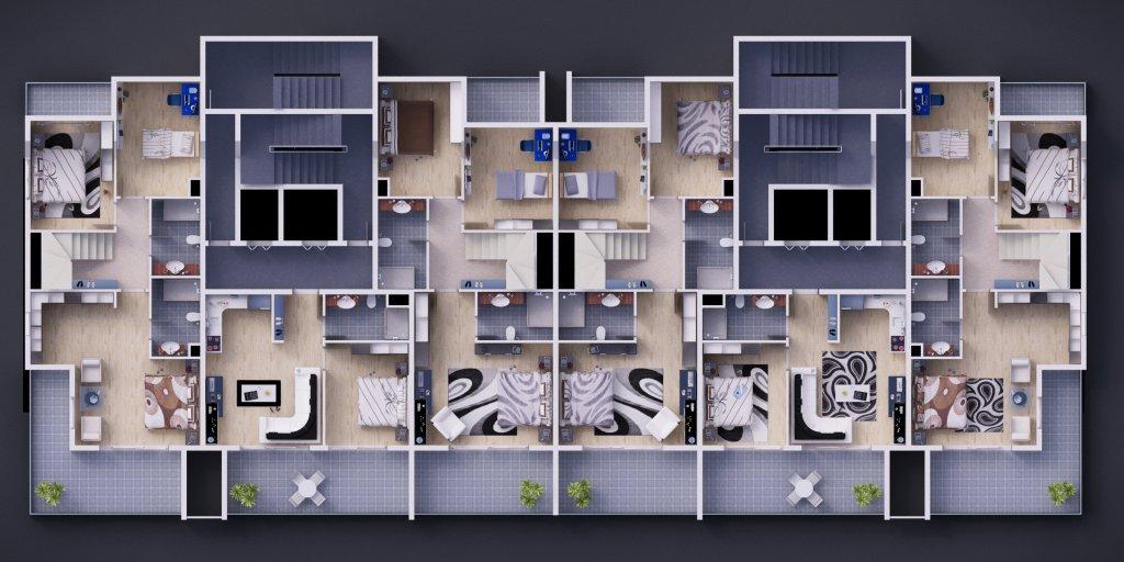 План Первых этажей дублексов
